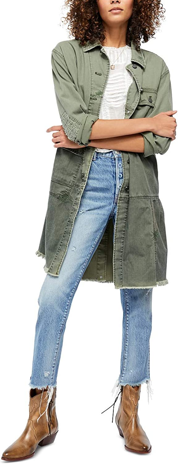 Free People We The Free, Women's Forever Free Tiered Jacket, Olive, Size XL
