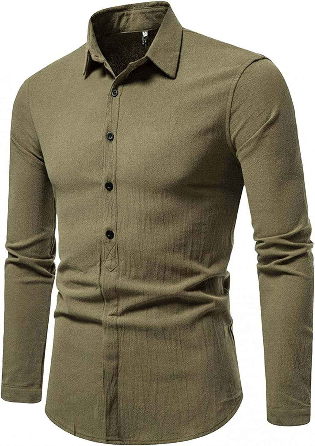 FUNEY Mens Slim Fit Long Sleeve Tuxedo Dress Shirts Hipster Casual Plain Half Covered Button Turn-Down Collar Shirt Tops