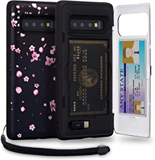 TORU CX PRO Galaxy S10 Wallet Case Pattern Floral with Hidden Credit Card Holder ID Slot Hard Cover, Strap, Mirror & USB Adapter for Samsung Galaxy S10 (2019) - Sakura Flowers