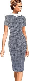 Womens Celebrity Colorblock Lapel Work Business Office Sheath Dress