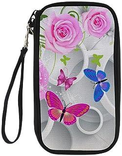 Butterfly Printted Card Case Cover Passport Holder Zipper Passport Holder for Men & Women
