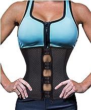 Gotoly Women Latex Waist Trainer Zip Corset Steel Boned Sport Cincher Weight Loss Body Shaper