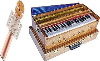 Makan Musicals Bass & Male Reed, Traveler/Portable/Folding Type 9 Stopper- 5 Main & 4 Drones, 3½ Octaves, Teak Color, Coupler, Gig Bag, 440 Hz, Suitable for Yoga, Bhajan, Kirtan Hand Pumped Harmonium