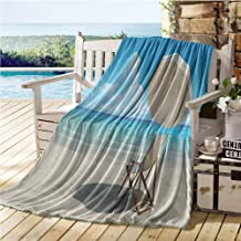 Mademai Coastal Decor Collection Throw Blanket for Couch,Scenic Picture of Lonely Chair Under Sky Sea Coast Nature and Remote Horizon Picture,Summer Comforter Ivory Blue 70
