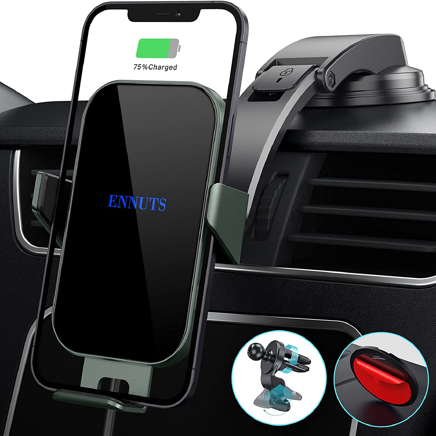 15W Metal Frame Wireless Car Charger Ennuts Auto-Clamping Qi Fast Charge Wireless Car Charger Mount Dashboard Air Vent Phone Holder Compatible for iPhone 12/12 Pro Max/11/XS/8, Samsung S21/20/S10
