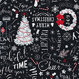 Timeless Treasures White, Red, Christmas Text, Holiday Season, Trees, Candy Canes, Black Background, Let It Snow, C6884-BLACK, by The Yard
