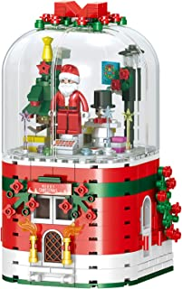 Santa Claus Building Blocks,with Rotating With Music & Lights,355 Pieces Christmas Tree Architecture Building Blocks Mode...