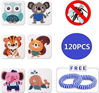 Mosquito Repellent Patch 120 Count , Insect Repellent Resealable Stickers with 2 Bracelet - Non-Toxic, Nature Citronella, Lemongrass and Eucalyptus, Up To 24 Hour of Protection, Apply To Skin and Clot