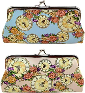 Oyachic Large Coin Purse Vintage Foral Change Purse Clutch Wallet kiss lock Pouch with Clasp Closure for Girls and Women