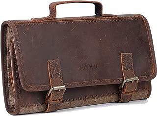 S-ZONE Toiletry Bag Travel Dopp Kit Canvas & Genuine Leather Organizer Storage Great Gift
