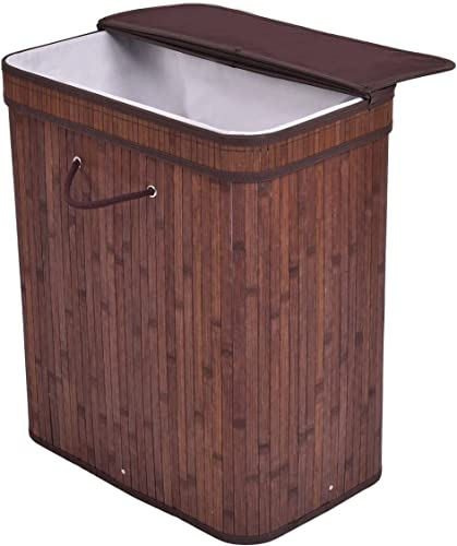2021 Giantex Large Rect Bamboo Hamper Laundry Basket With Folding outlet online sale Lid Washing Cloth Organizer discount Storage Bag (Brown) online