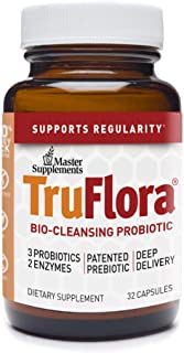 Master Supplements TruFlora - 32 Vegan Capsules - Blend of Probiotics and Enzymes for Colon Cleanse, Promotes Optimal Gut ...
