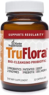 Master Supplements TruFlora - 32 Vegan Capsules - Blend of Probiotics and Enzymes for Colon Cleanse, Promotes Optimal Gut Health, Energy Booster - Gluten Free - 32 Servings