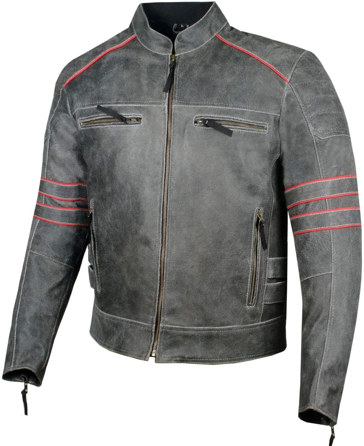 Men's Brotherhood Classic Leather New life Motorcycle 25% OFF Armor B CE Distress
