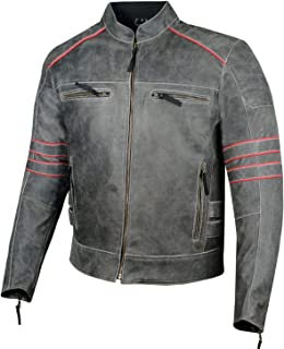 Men's Brotherhood Classic Leather Motorcycle Distressed Armor Biker Jacket M