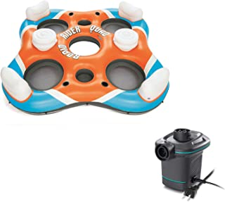 Bestway Rapid Rider 4 Person Floating Island River Lake Raft + Electric Air Pump
