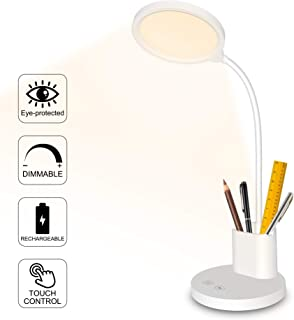 Rechargeable Desk Lamp, LED USB Dimmable Study Table Lamp with Pen Holder, Winshine Gooseneck Eye Caring Touch Control Battery Operated Reading Lamp for Office, Bedroom, Studio