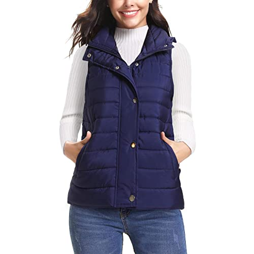 0a5ebd738458 iClosam Women s Sleeveless Coat Stand Collar Lightweight Vest Gilet Puffer  Zip Quilted Jacket