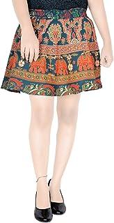 Sttoffa Mini Skirt for Womens 15 Inch Length Elastic Band Rajasthani Skirt D2