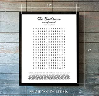 Word Search Bathroom Art Wall Decor - Great FUN Gift for Any Occasion. House Warming, New Apartment, College Students, Guest Bathroom
