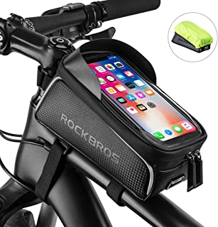 ROCKBROS Bike Phone Front Frame Bag Bicycle Bag Waterproof Bike Phone Mount Top Tube Bag Bike Phone Case Holder Accessorie...