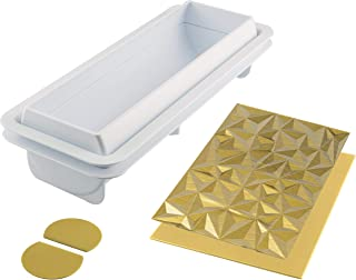 Silikomart Diamond Buche Silicone Baking Set, Create Baked or Frozen Yule Log Cakes with 3D Geometric Texture, Includes Plastic Support, 2 Dishwasher Safe Mats and Recipe Booklet, Made in Italy