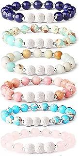 6Pcs Lava Rock Stone Aromatherapy Essential Oil Diffuser Bracelet for Women Girls Natural Gemstone Healing Crystal Bracelet