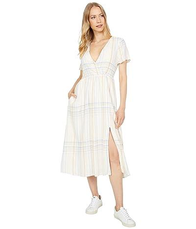 Madewell Linen Blend Clara Midi Dress in Plaid