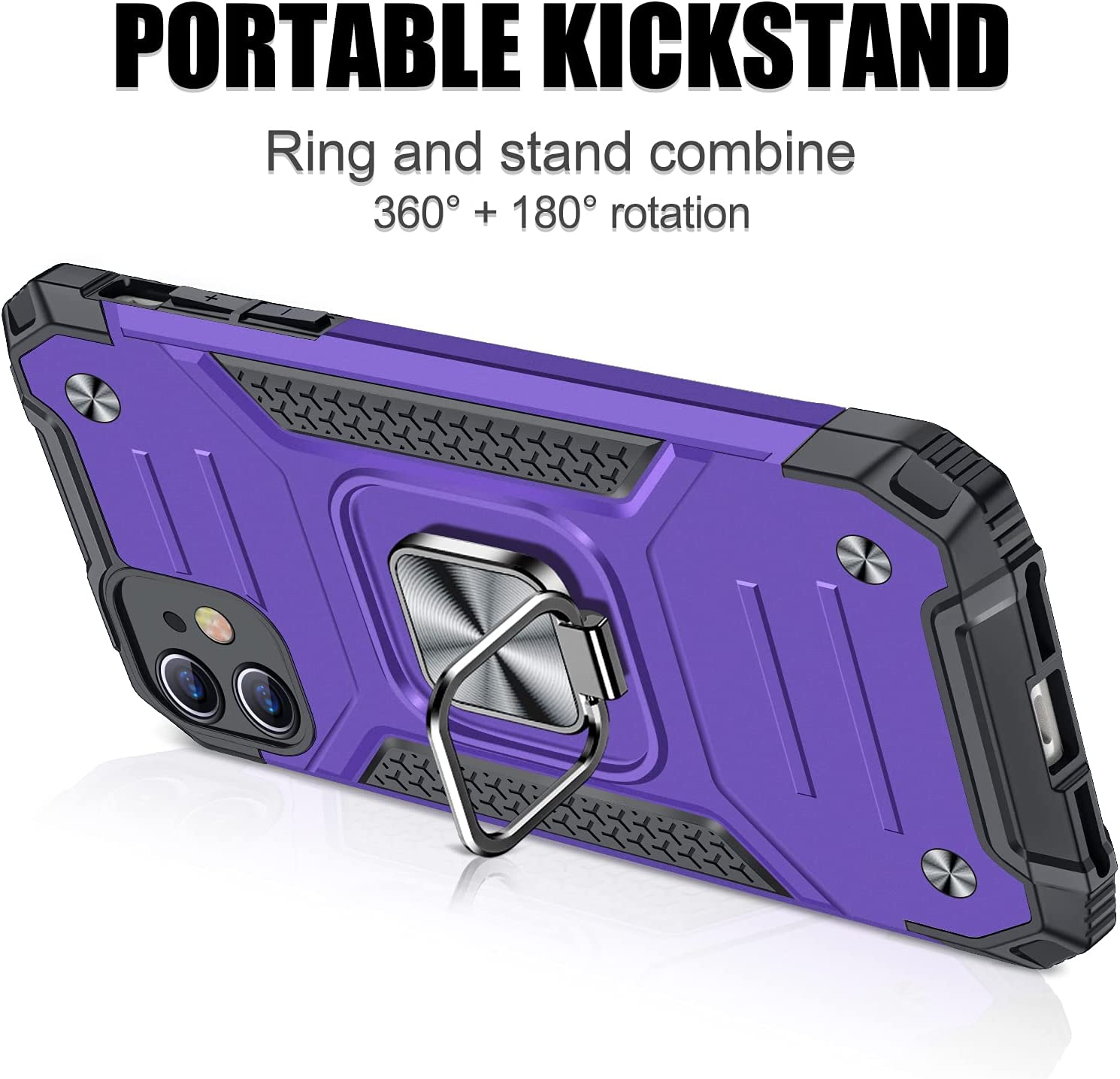 JAME Designed for iPhone 11 Case with Screen Protector 2PCS, Military-Grade Drop Protection, Protective Phone Cases, with Ring Kickstand Shockproof Bumper Case for iPhone 11 6.1 Inch Purple
