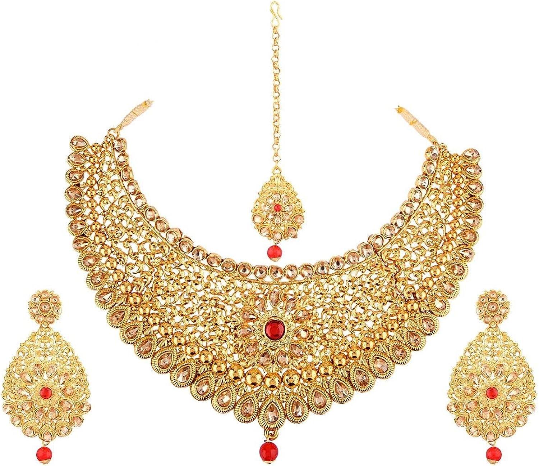 Efulgenz Traditional Indian Jewelry Crystal Kundan Choker Necklace Earrings Maang Tikka Head Chain Wedding Set for Women Girls,