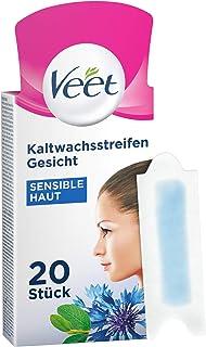 Veet Koudwasstrips met Easy-Gelwax Technology – voor het gezicht – geschikt voor de gevoelige huid – tot 28 dagen gladde h...