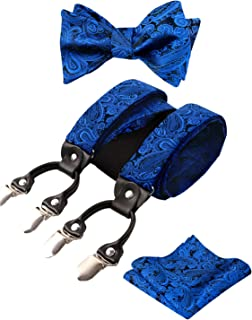 Alizeal Mens Adjustable Paisley Bow Tie, Pocket Square and Clips Suspenders