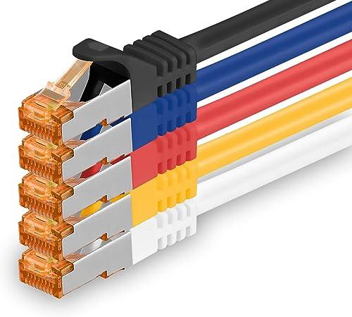 1aTTack.de 0,25m - Câble réseau Cat.7 5 Couleurs 03 Câble LAN Ethernet Gigabit 10000 Mbit s Câble Patch Cat7 Câble S ...