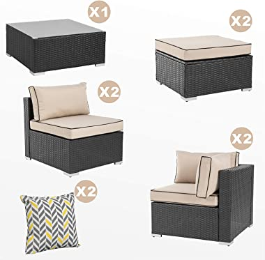 Walsunny 7pcs Patio Outdoor Furniture Sets,Low Back All-Weather Rattan Sectional Sofa with Tea Table&Washable Couch Cushions&Ottoman (Black Rattan)(Khaki/Black)