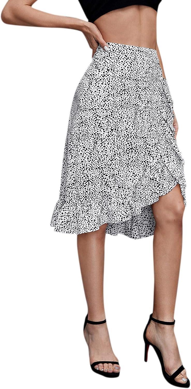 SweatyRocks Women's Summer High Waist Wrap Ruffle Hem A Line Midi Skirt