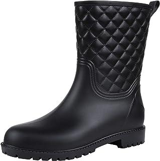 Asgard Women's Mid Calf Rain Boots Waterproof Quilted Rubber Garden Boots