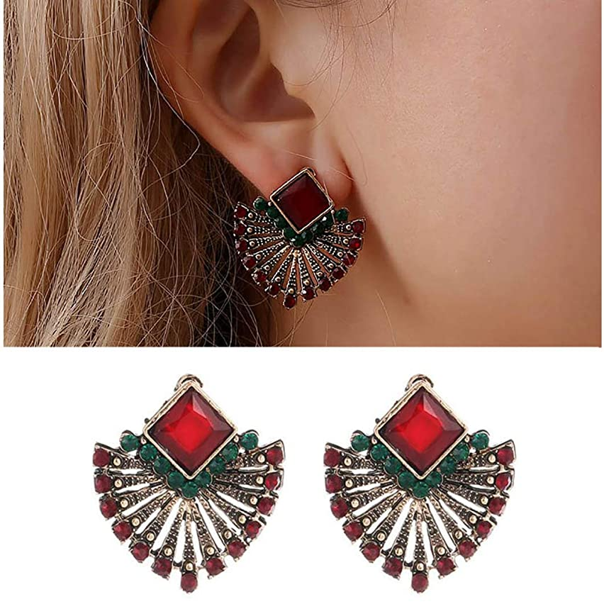 Leiothrix Boho Geometry Crsyatsl Earrings Studs for Women and Girls