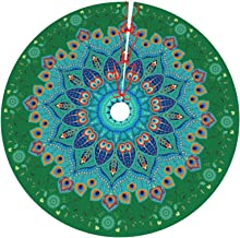 Peacock Feathers Christmas Tree Skirt Round Oriental Floral Paisley Pattern Holiday Party Xmas Tree Mat Decor for Home Pic...