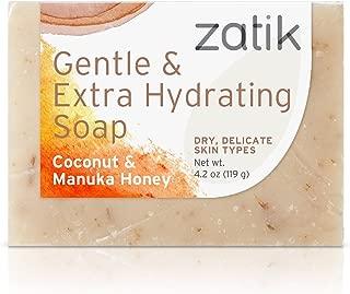 Zatik Naturals - Coconut and Manuka Honey Gentle and Extra Hydrating Soap (4.2 oz) Vegan Bio-degradable pH Balanced