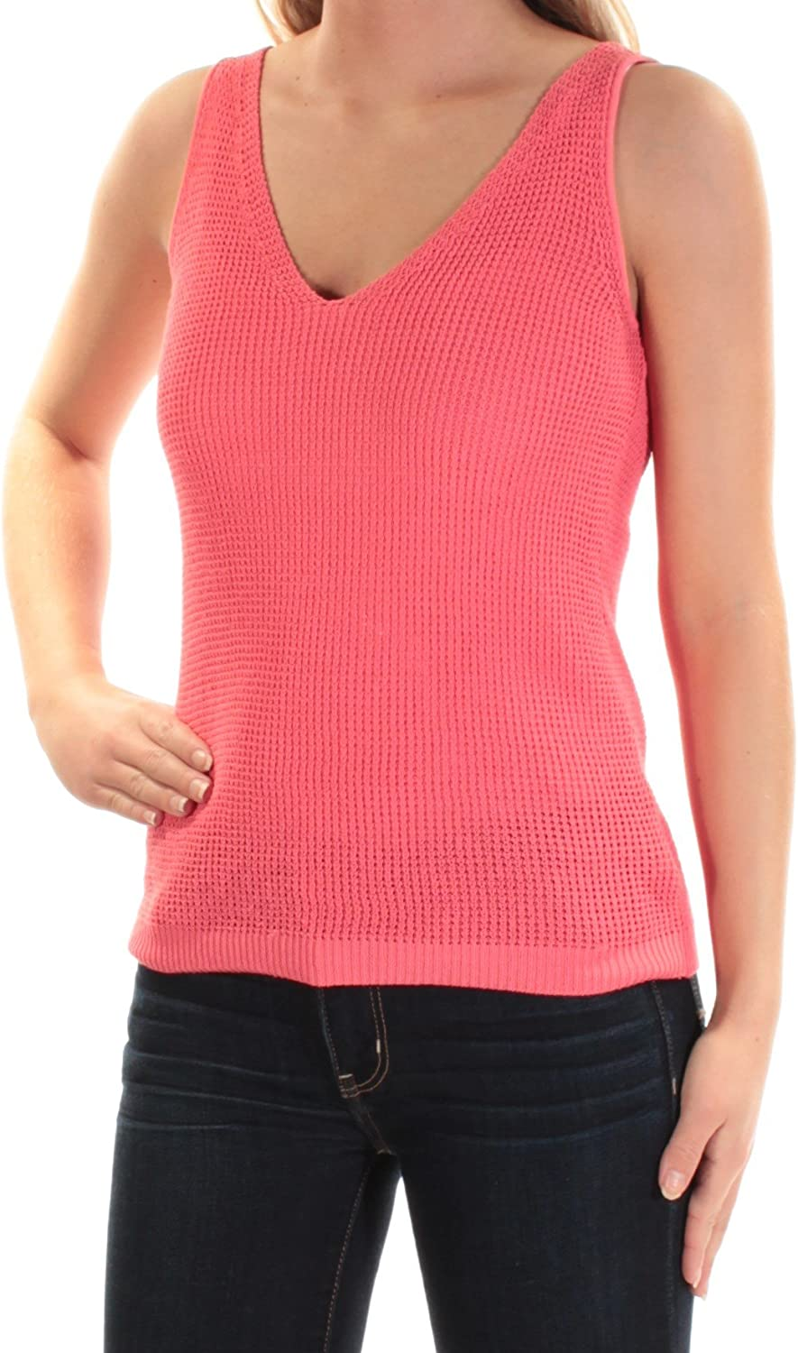 Bar III Womens Coral Sleeveless V Neck Top US Size  L