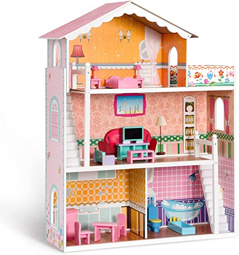 wholesale ROBUD Wooden Dollhouse for Girls with 15pcs Furniture 3.6ft Tall 3-Storey 4 high quality Room popular Pretend Play Toy Dollhouse House for Kids online sale