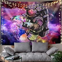 Hexagram Cool Spaceman Tapestries Colorful Tie Dye Tapestry Wall Hanging Hippie Fantasy Outer Space Astronaut Wall Tapestry for Bedroom Dorm Decorations