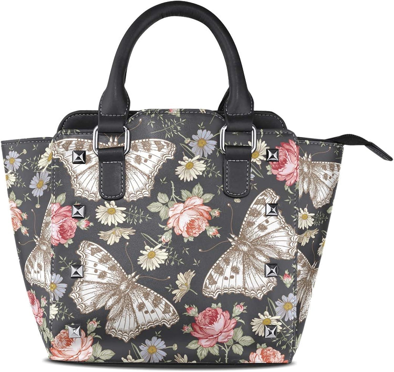 My Little Nest Women's Top Handle Satchel Handbag Butterflies pink Wildflowers Floral Ladies PU Leather Shoulder Bag Crossbody Bag