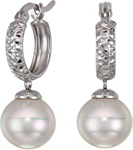 763cfb278 Timeless - Short Post Earrings On Sterling Silver Rhodium-Plated, 10 mm Round  White