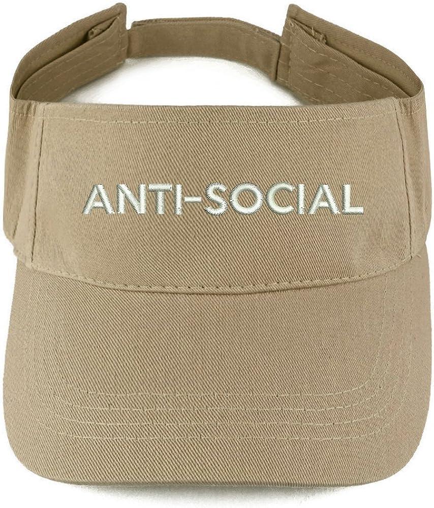 Trendy Apparel Shop Anti Social Embroidered Summer Adjustable Visor