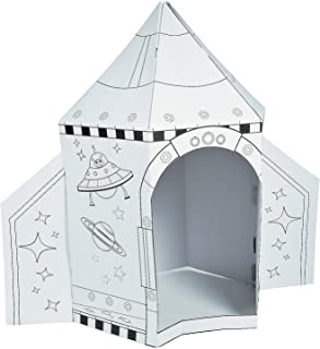 Fun Express Color Your Own Cardboard Playhouse Rocket Ship (5 ft Tall and Easy Storage) Craft Kits and Toys