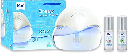 blu Breez Ionic Air Purifier with Patented Hydro-Filtration Technology with Two Aroma Oils