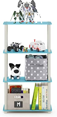 Furinno Turn-S-Tube 4-Tier Multipurpose Shelf Display Rack, Square, Light Blue/White