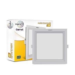 Wipro D721560 Garnet 15-Watt Wave Slim Panel Light (Cool Day Light, White, Square)