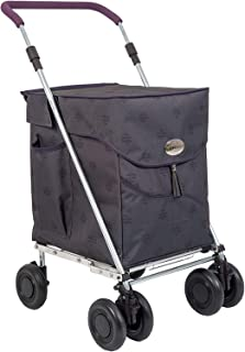 Sholley Deluxe Shopping Trolley, Grocery Cart Utility Cart 4 Wheels Light and Easy to Push, Foldable, Height & Angle Adjustable Handle, Strong & Stable Aids Walking, Mens & Ladies Design (Kensington)
